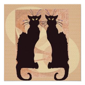 """Dos gatos negros invitación 5.25"""" x 5.25"""""""