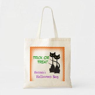 Dos gatos negros personalizaron truco o la bolsa tela barata