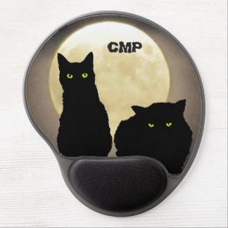 Dos gatos negros y la Luna Llena Alfombrillas De Ratón Con Gel