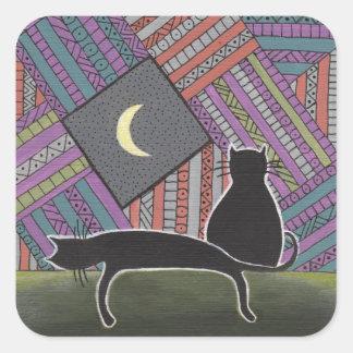 dos gatos negros y lunas pegatina cuadrada