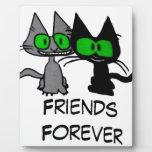 Dos gatos son amigos para siempre placa de plastico