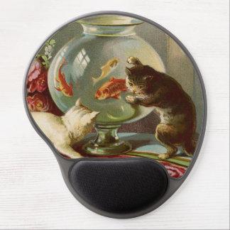 Dos gatos y un cojín de ratón del gel de Fishbowl Alfombrilla Gel