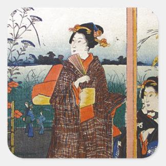 Dos geishas Woodblock tradicional japonés Ukiyo-E Pegatina Cuadrada