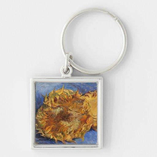 Dos girasoles cortados, Vincent van Gogh Llavero Cuadrado Plateado