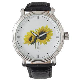 Dos girasoles relojes de pulsera