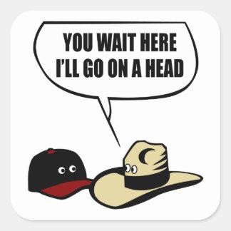 Dos gorras pegatina cuadrada