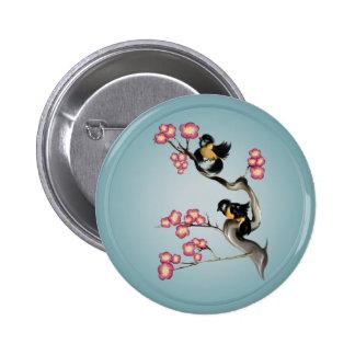 Dos gorriones en Rama-Imanes Pin Redondo 5 Cm