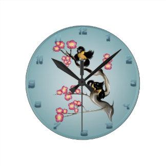 Dos gorriones en una rama Wallclock Reloj Redondo Mediano