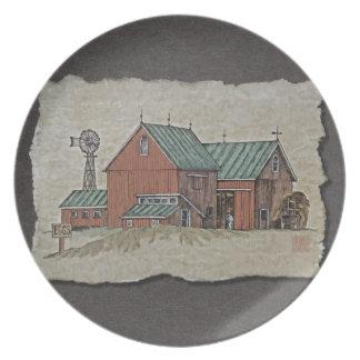 Dos graneros y carros del heno plato