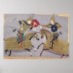 Dos guerreros a caballo en combate poster