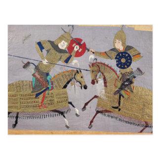 Dos guerreros a caballo en combate postal
