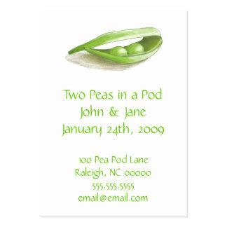 Dos guisantes en tarjetas de los addess de un boda tarjetas de visita grandes