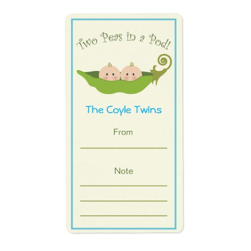 Dos guisantes en un Bookplate de la vaina el | Etiquetas De Envío