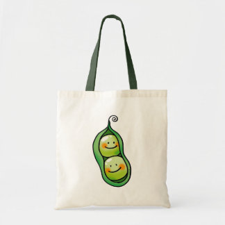 Dos guisantes en una vaina bolsa tela barata