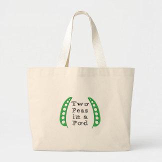 Dos guisantes en una vaina bolsas lienzo