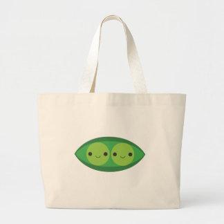 Dos guisantes en una vaina bolsa