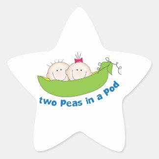 Dos guisantes en una vaina pegatina en forma de estrella