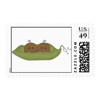 Dos guisantes en una vaina sellos postales