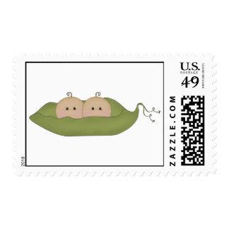 Dos guisantes en una vaina timbre postal