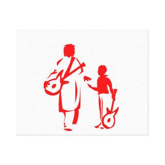 dos guitarristas red.png impresión en lienzo estirada