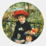 Dos hermanas en la terraza por Renoir Etiquetas Redondas