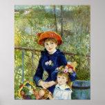 Dos hermanas (en la terraza) por Renoir Póster