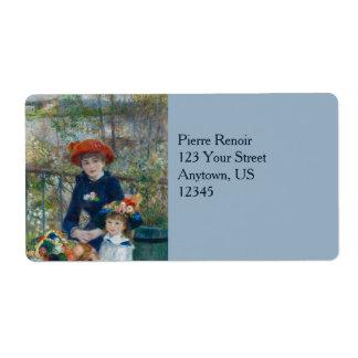 Dos hermanas en terraza de Pierre-Auguste Renoir Etiqueta De Envío