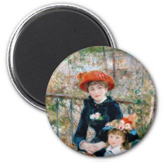 Dos hermanas en terraza por Renoir. Impresión de l Imán Redondo 5 Cm