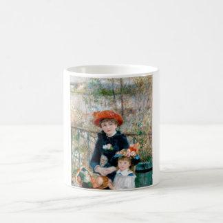 Dos hermanas en terraza por Renoir. Impresión de Taza De Café