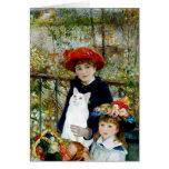Dos hermanas - gato de pelo corto blanco tarjeta