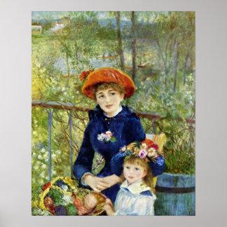 Dos hermanas por Renoir, arte del impresionismo Póster