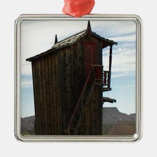 Dos historias con las escaleras adorno navideño cuadrado de metal