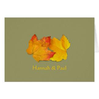 Dos hojas simples le agradecen tarjeta del mensaje
