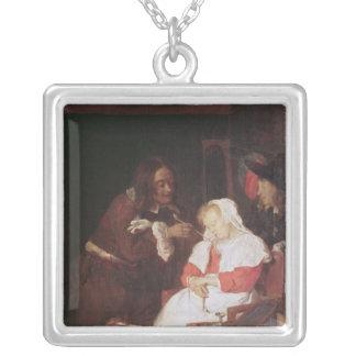 Dos hombres con una mujer durmiente, c.1655-60 collar plateado
