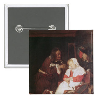 Dos hombres con una mujer durmiente, c.1655-60 pin cuadrada 5 cm