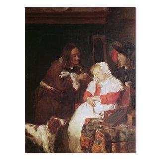 Dos hombres con una mujer durmiente c 1655-60 tarjetas postales