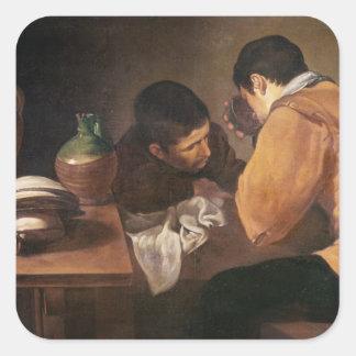 Dos hombres en la tabla, c.1620-21 pegatina cuadrada