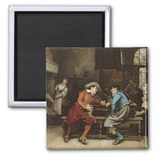 Dos hombres que hablan en una taberna imán cuadrado