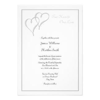 Dos invitaciones del boda del amor de los corazone invitacion personal