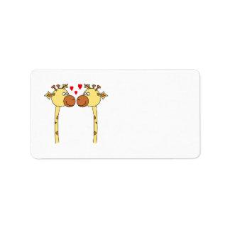 Dos jirafas con los corazones rojos del amor. Dibu Etiquetas De Dirección