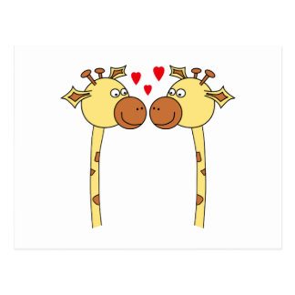 Dos jirafas con los corazones rojos del amor. Dibu Tarjeta Postal
