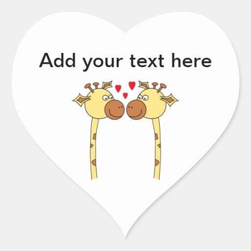 Dos jirafas con los corazones rojos del amor. calcomanía de corazón