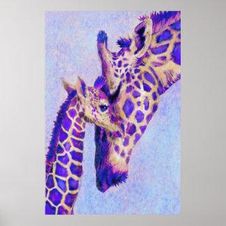 Dos jirafas púrpuras poster