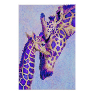 Dos jirafas púrpuras póster