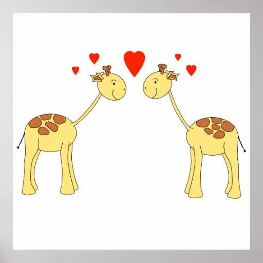 Dos jirafas que hacen frente con los corazones. Hi Poster