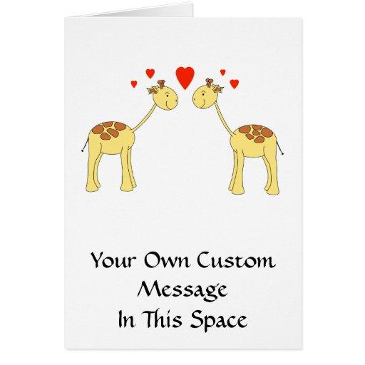 Dos jirafas que hacen frente con los corazones. Hi Tarjetón