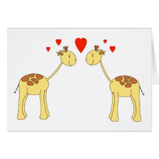 Dos jirafas que hacen frente con los corazones. Hi Felicitaciones