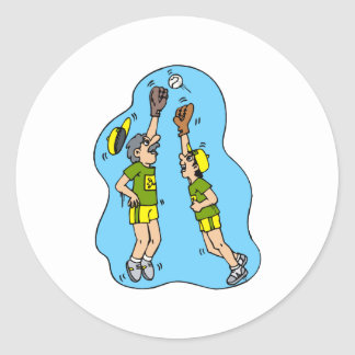Dos jugadores que saltan para la bola pegatina redonda