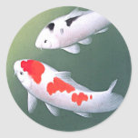 Dos Koi, impresión de Woodblock del japonés Pegatina