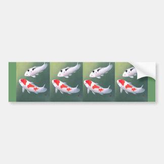 Dos Koi, impresión de Woodblock del japonés Pegatina Para Auto
